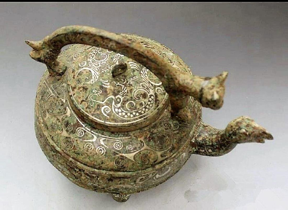Ancient Chinese bronze coppering.as silver dragon girde - 3