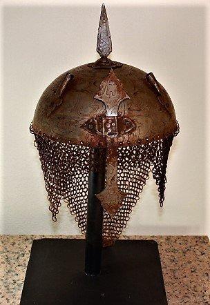 VINTAGE Indo Persian Mughal Islamic Script Helmet