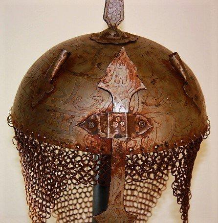VINTAGE Indo Persian Mughal Islamic Script Helmet - 4