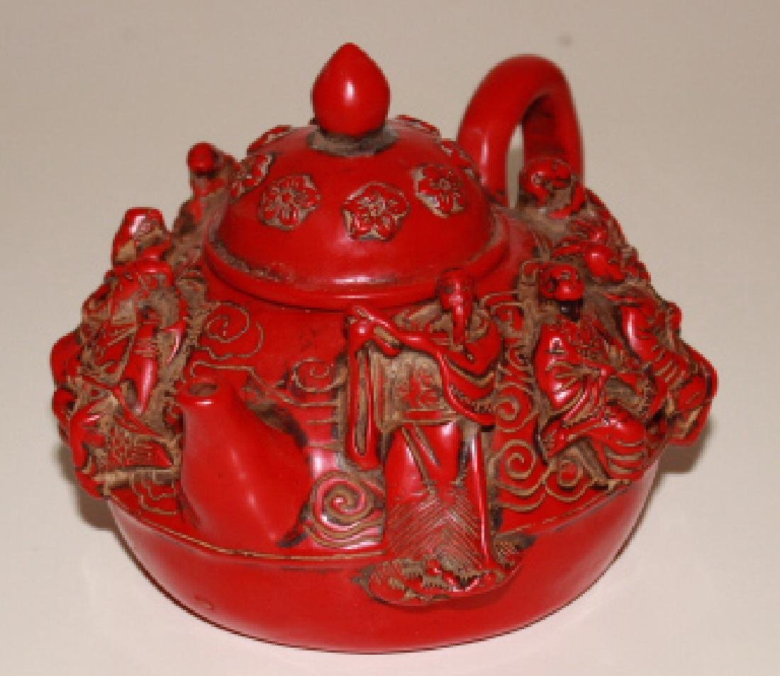 Coral Carved Teapot