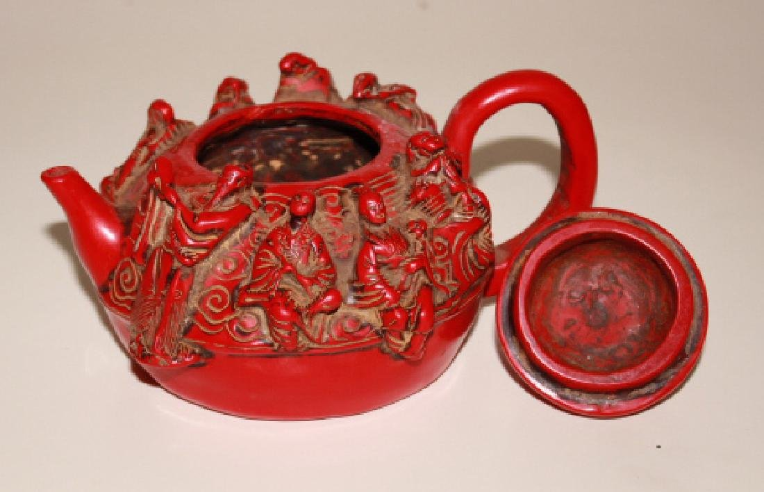 Coral Carved Teapot - 2