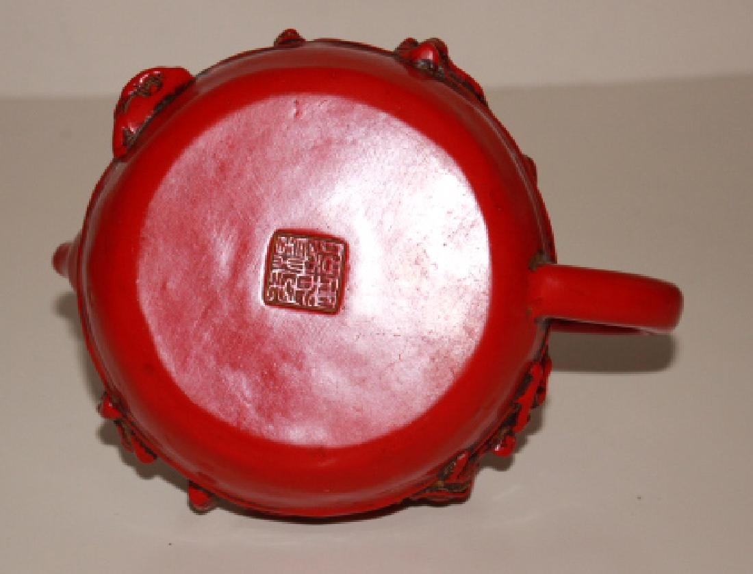 Coral Carved Teapot - 3