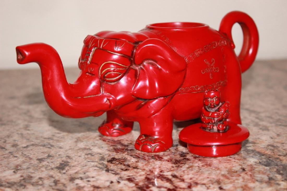 vintage Red Coral Carved Elephant Teapot
