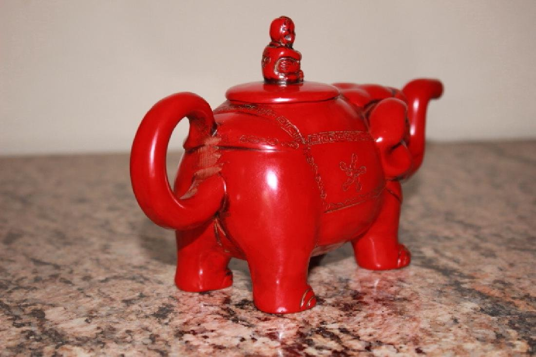 vintage Red Coral Carved Elephant Teapot - 2