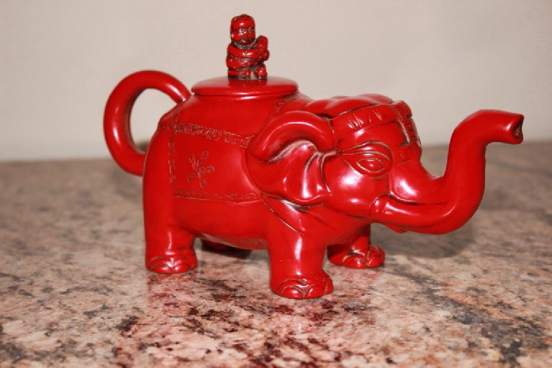 vintage Red Coral Carved Elephant Teapot - 3