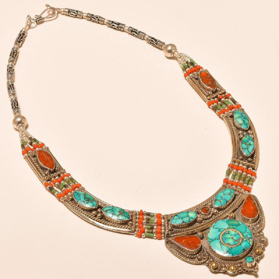 Turquoise & Red Coral 925 Silver Necklace