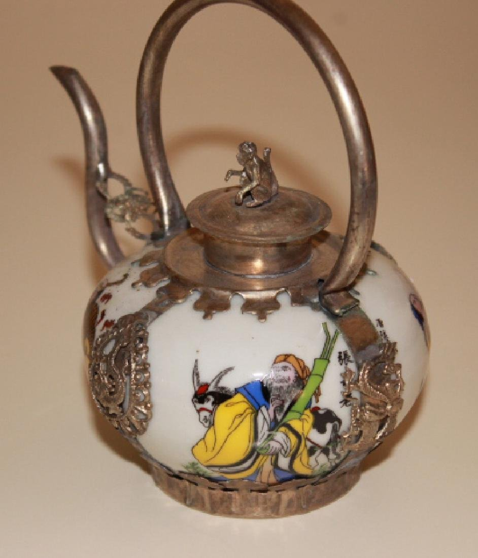 vintige Chinese Porcelain Painted Teapot - 2