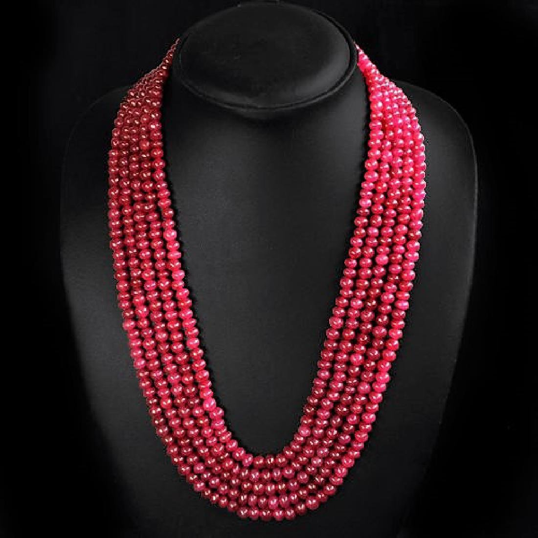 EARTH MINED 5 LINE RED RUBY ROUND BEADS NECKLACE