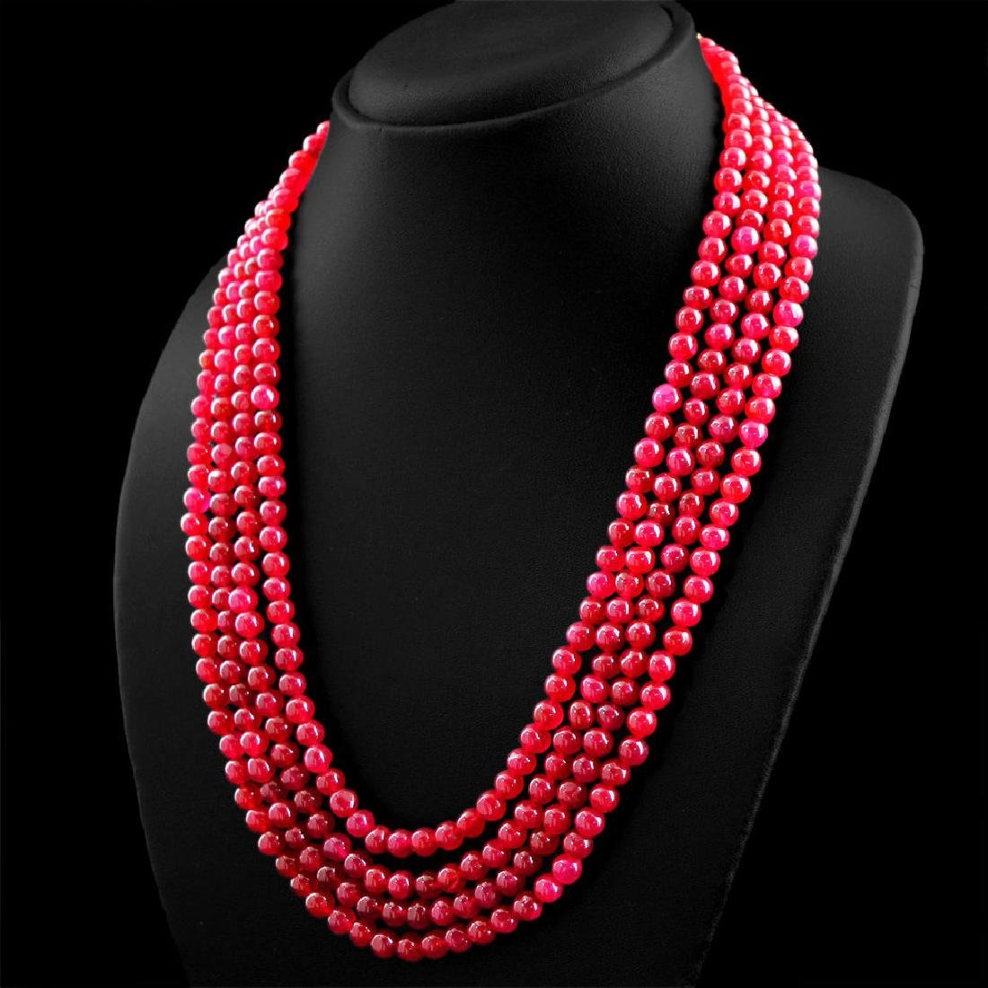 Earth Mined 4 Strand Red Ruby Round Shape Beads Necklac