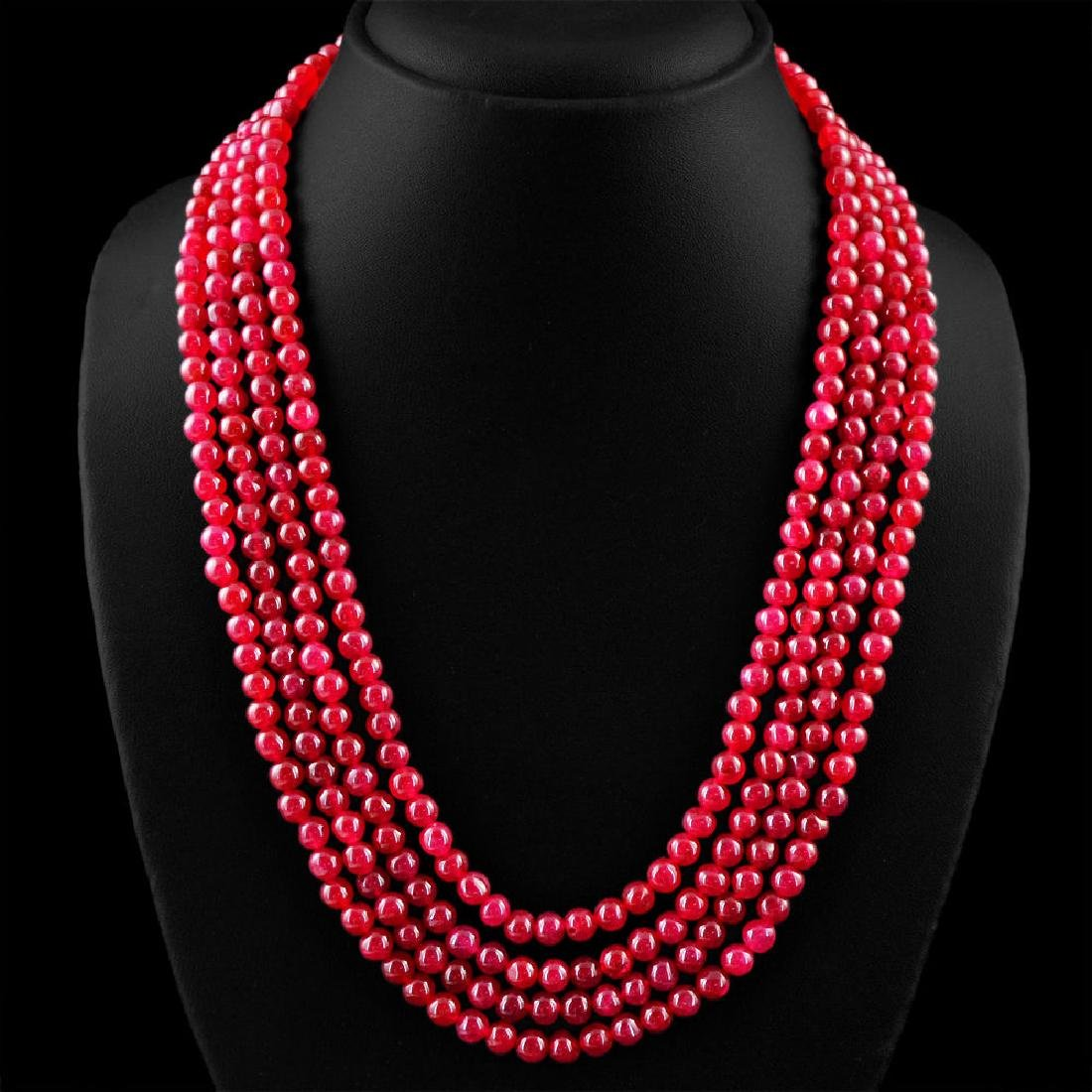 Earth Mined 4 Strand Red Ruby Round Shape Beads Necklac - 2