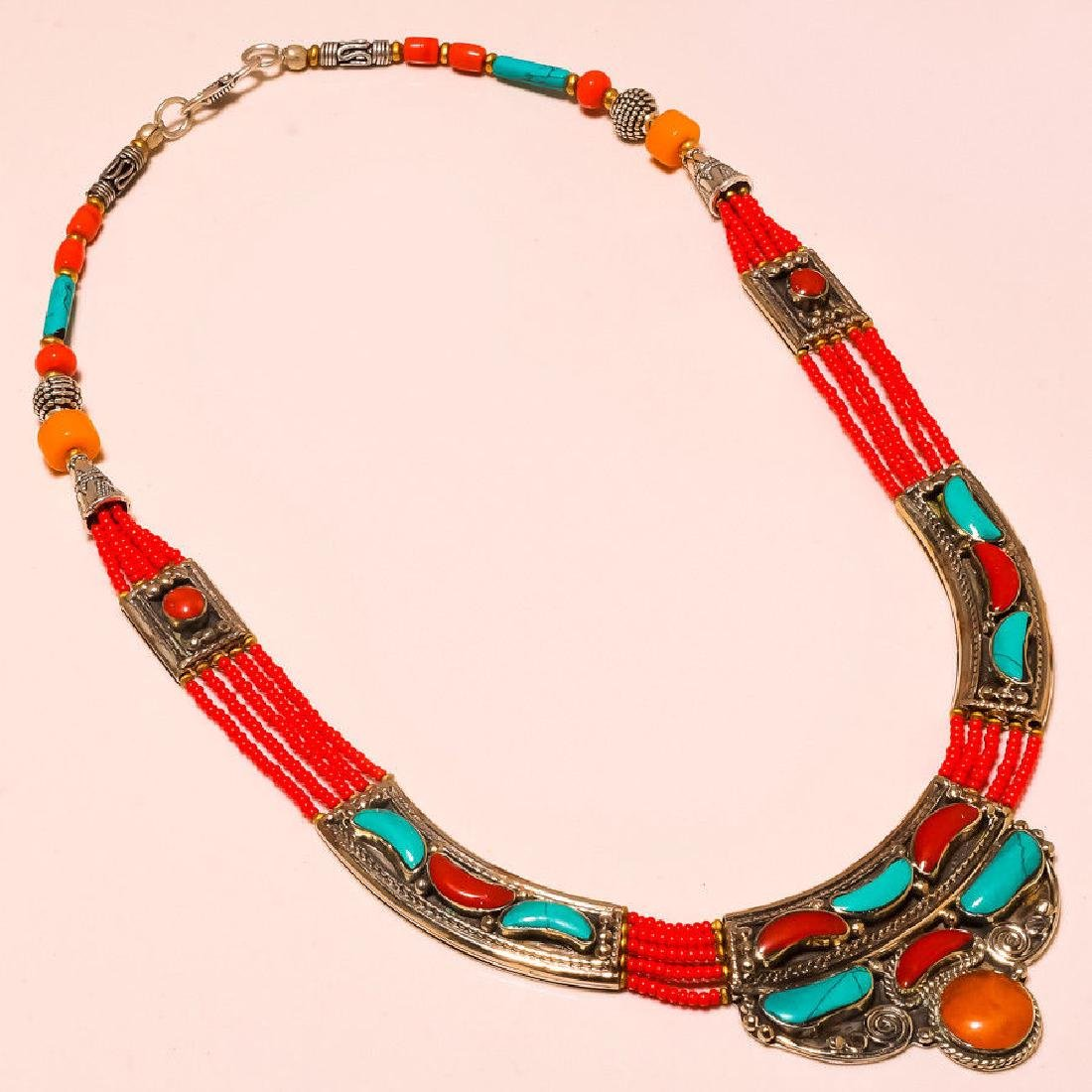 Red & Yellow Coral & Turquoise Classy Look .925 Silver