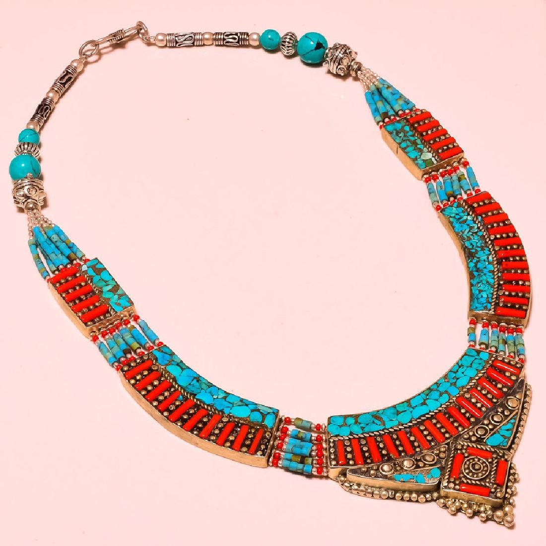 Turquoise With Red Coral Antique .925 Silver Gemstone