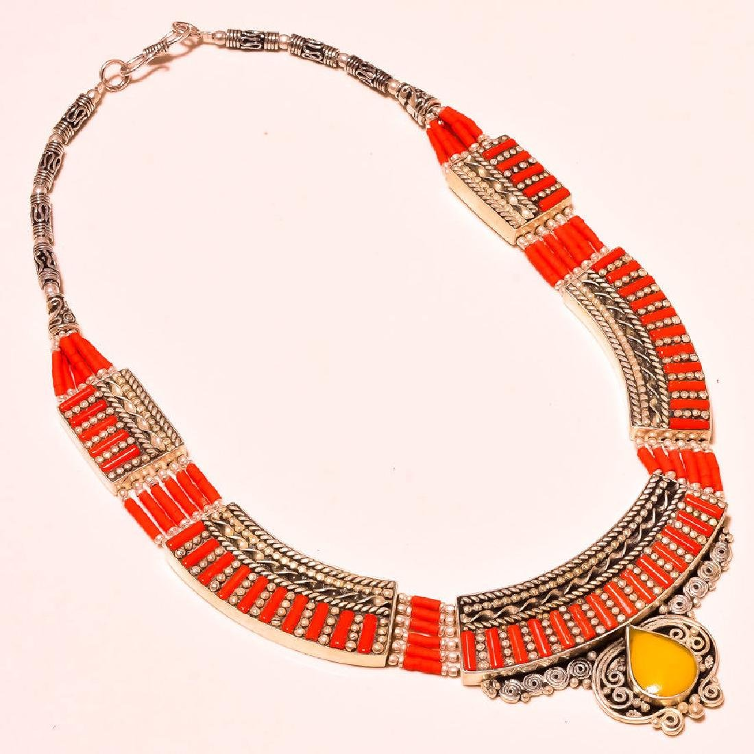 Red With Yellow Coral High Class Look .925 Silver
