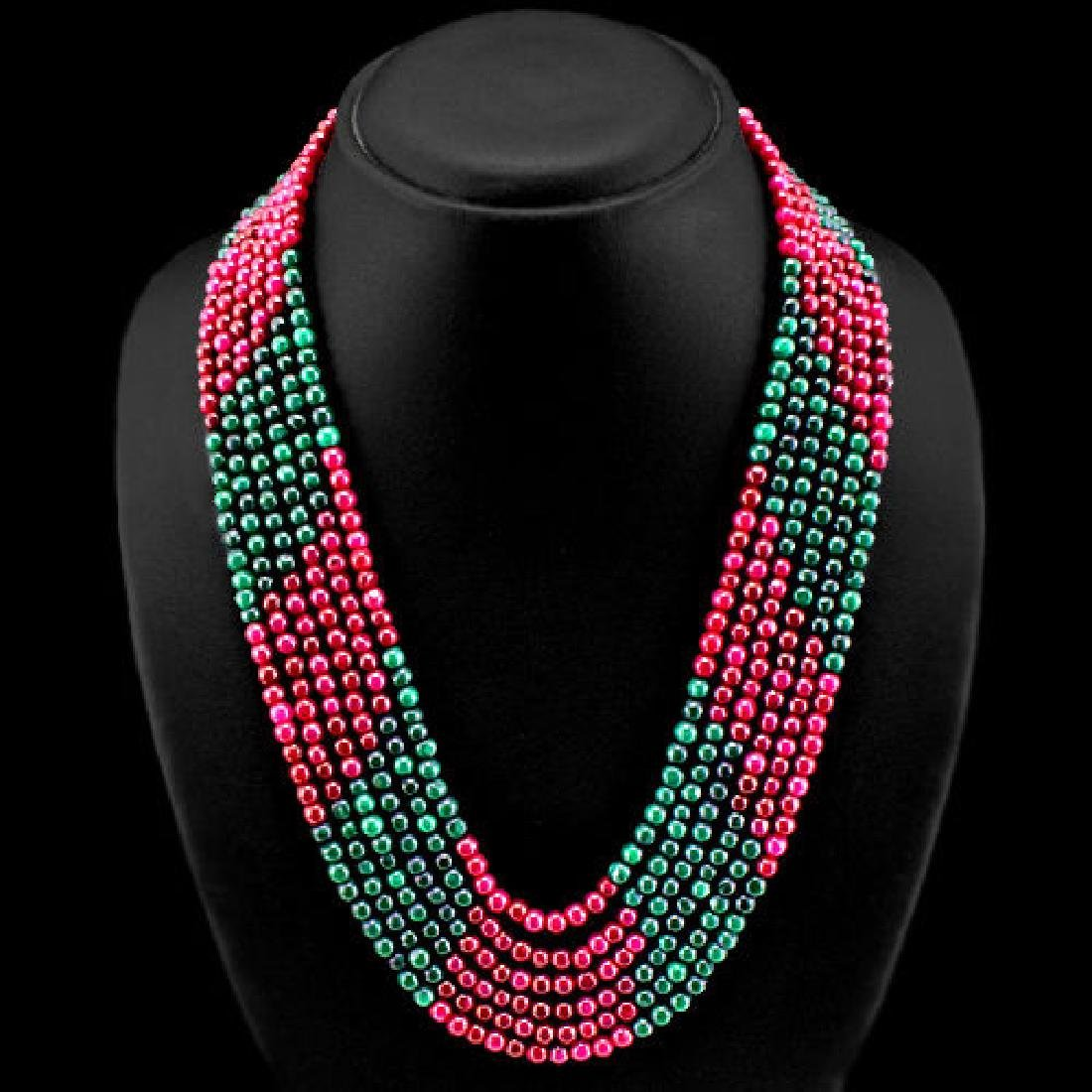 GRADE 505.00 CTS EARTH MINED 6 LINE RUBY & EMERALD BEAD