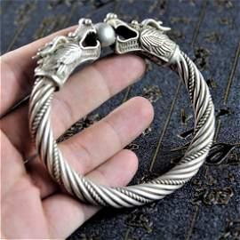 Chinese handmade old Tibetan silver bracelet/Double dra