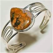 Ocean Jasper Gemstone Silver Cuff Handset in solid silv