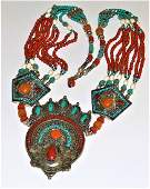 Lavish Turquoise, Yellow & Red Coral 925 Silver Tibetan