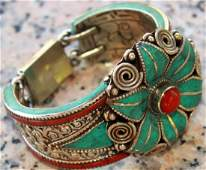 Yellow & Red Coral, Turquoise, Lapis Lazuli 925 Silver
