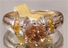 Light Champagne Solitaire Diamond Ring 14k golg