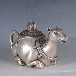 ancient Chinese Silvering Copper Horse Teapot