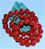 14K Solid Gold Clasp Natural 10MM Red Sea Coral