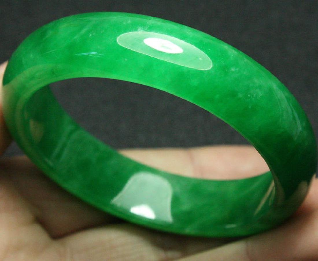 Certified Natural Emerald Green Jadeite Jade Bangle