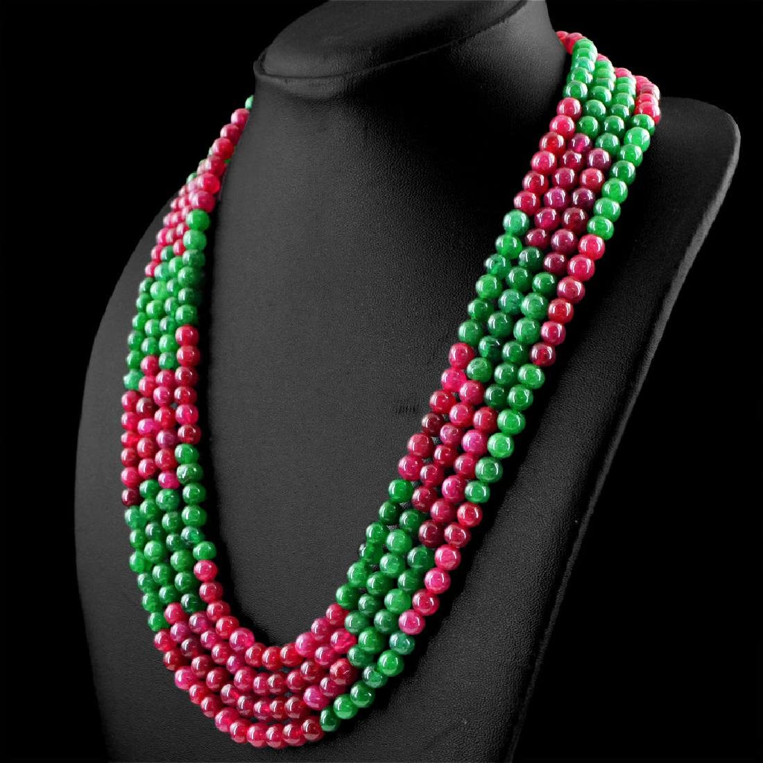 EARTH MINED 4 LINE RICH RED RUBY & GREEN EMERALD ROUND
