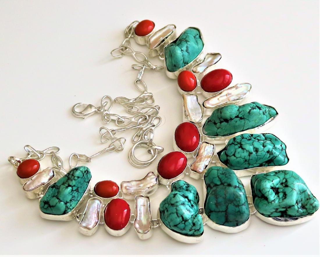 Turquoise With Red  Coral .925 Silver Necklace