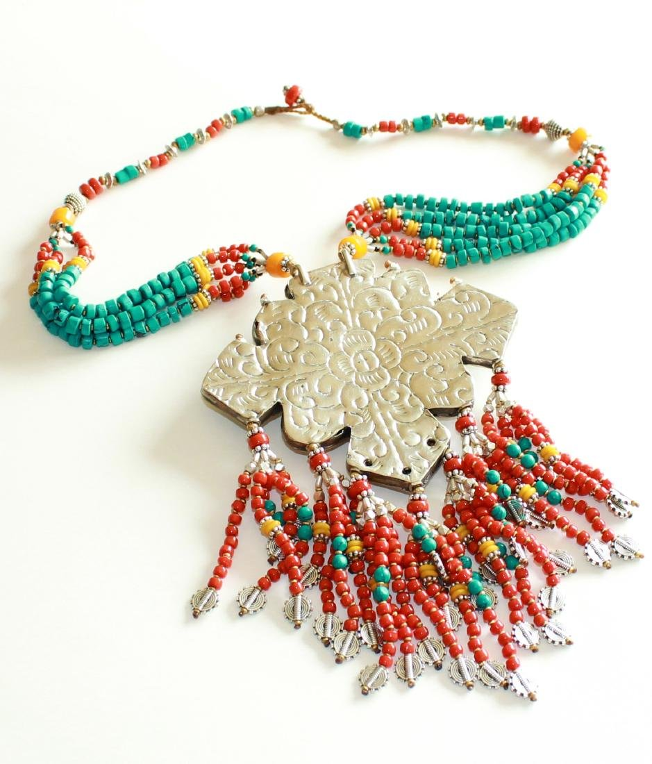 Turquoise with Red & Yellow Coral 925 Silver - 3