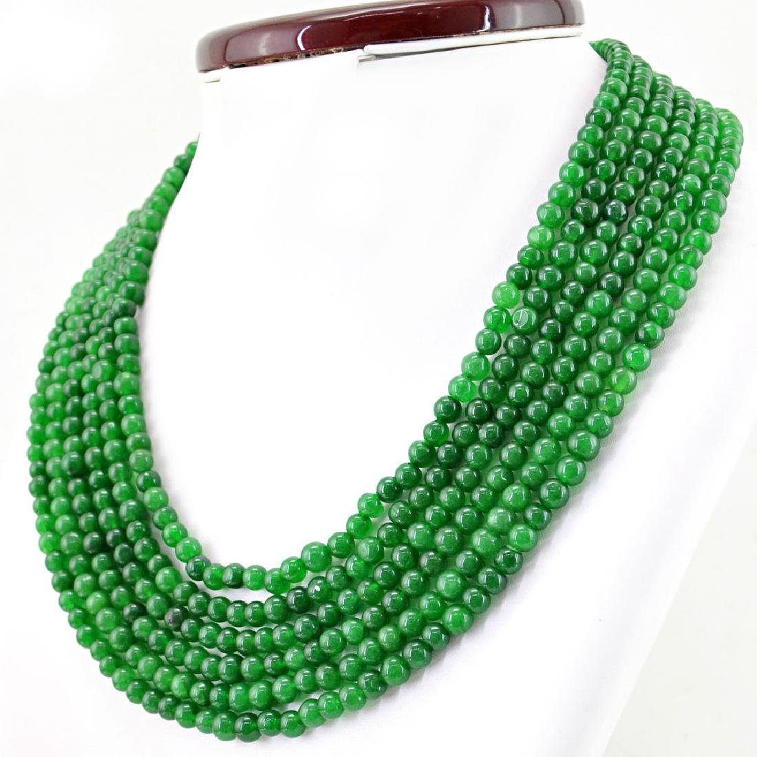 EARTH MINED 6 STRAND ROUND SHAPE RICH GREEN EMERALD