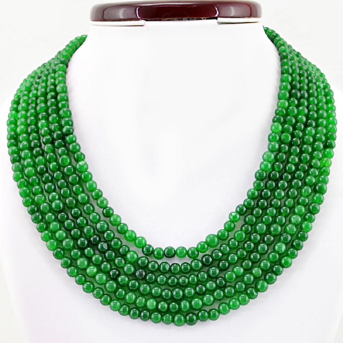 EARTH MINED 6 STRAND ROUND SHAPE RICH GREEN EMERALD - 2
