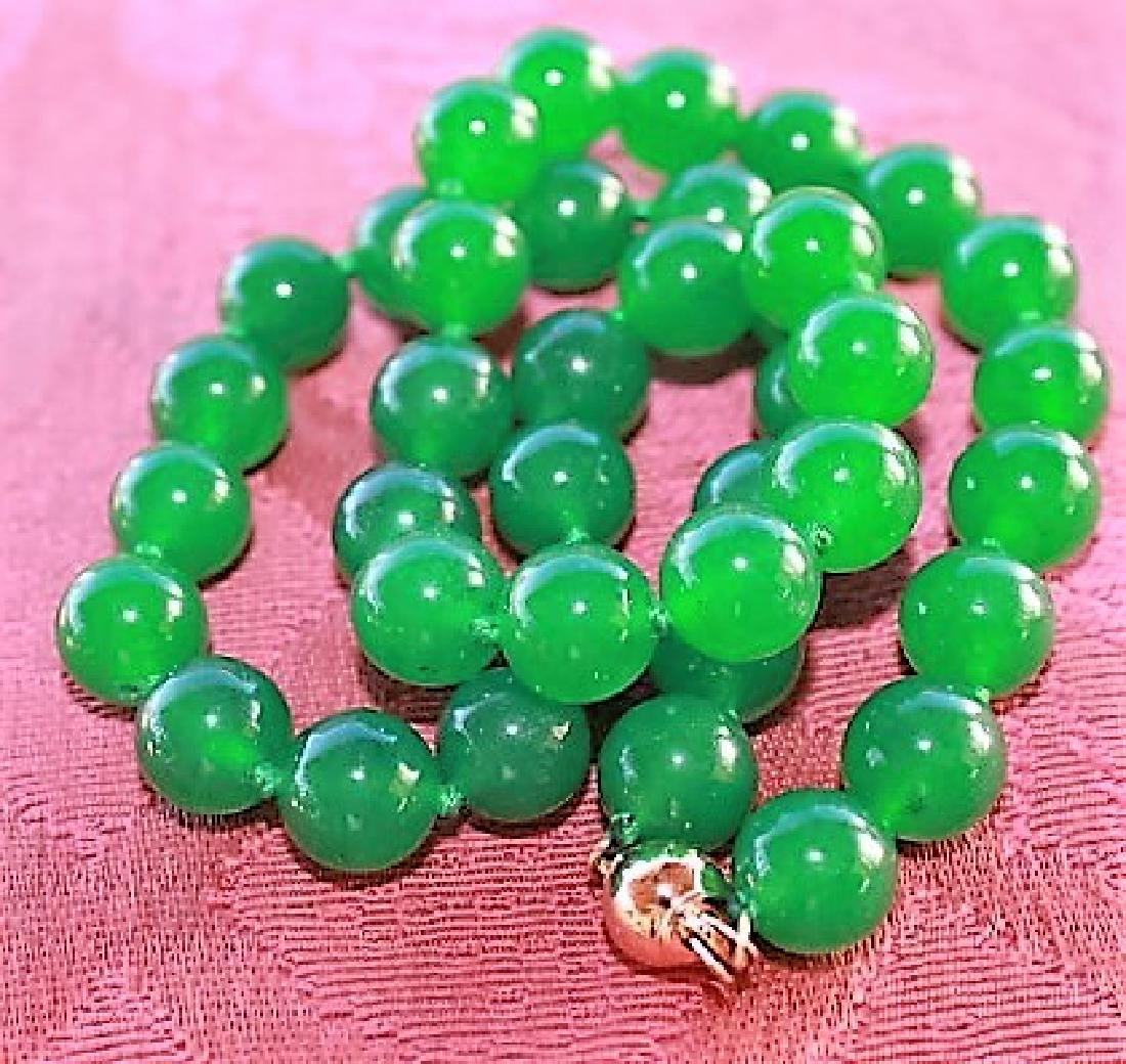 """10MM NATURAL GREEN JADE ROUND BEADS NECKLACE 18"""" AAA+"""