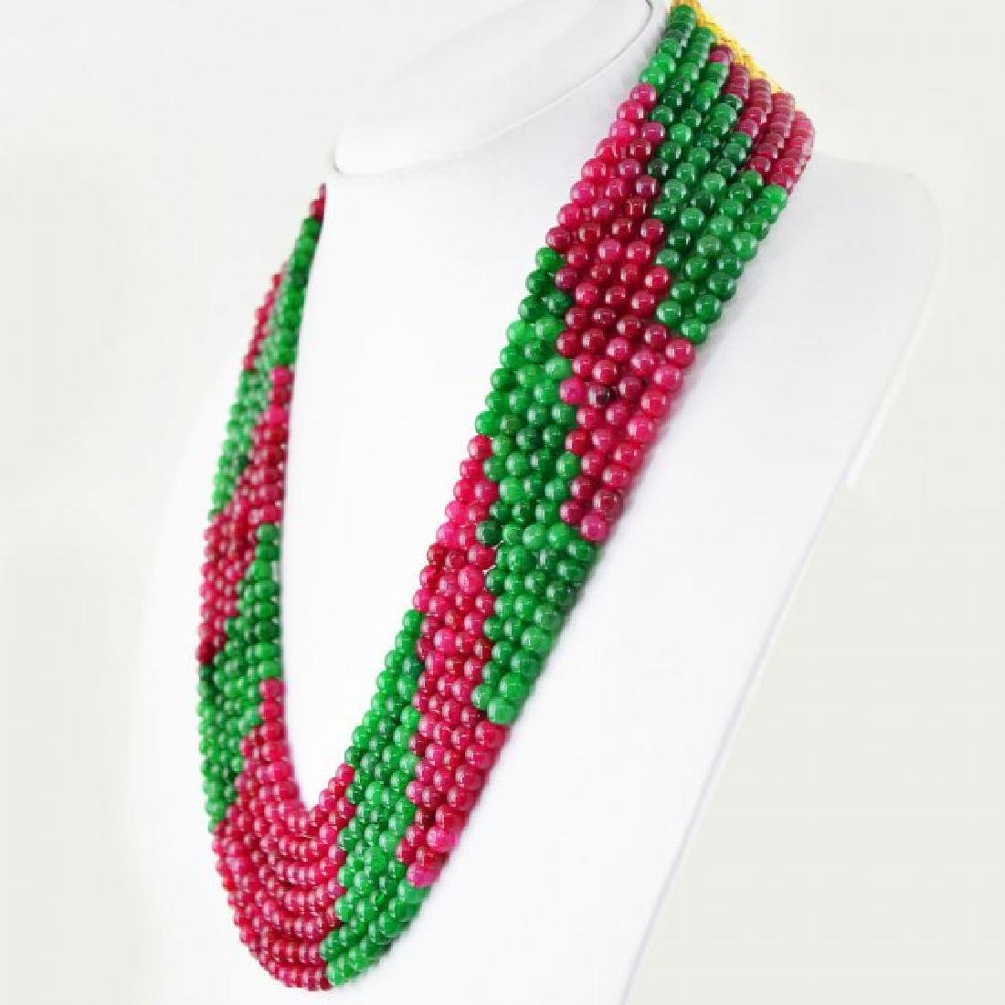 EARTH MINED RED RUBY & GREEN EMERALD 7 STRAND ROUND BEA
