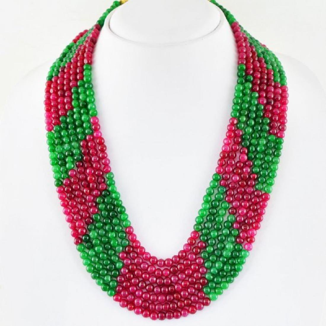 EARTH MINED RED RUBY & GREEN EMERALD 7 STRAND ROUND BEA - 2