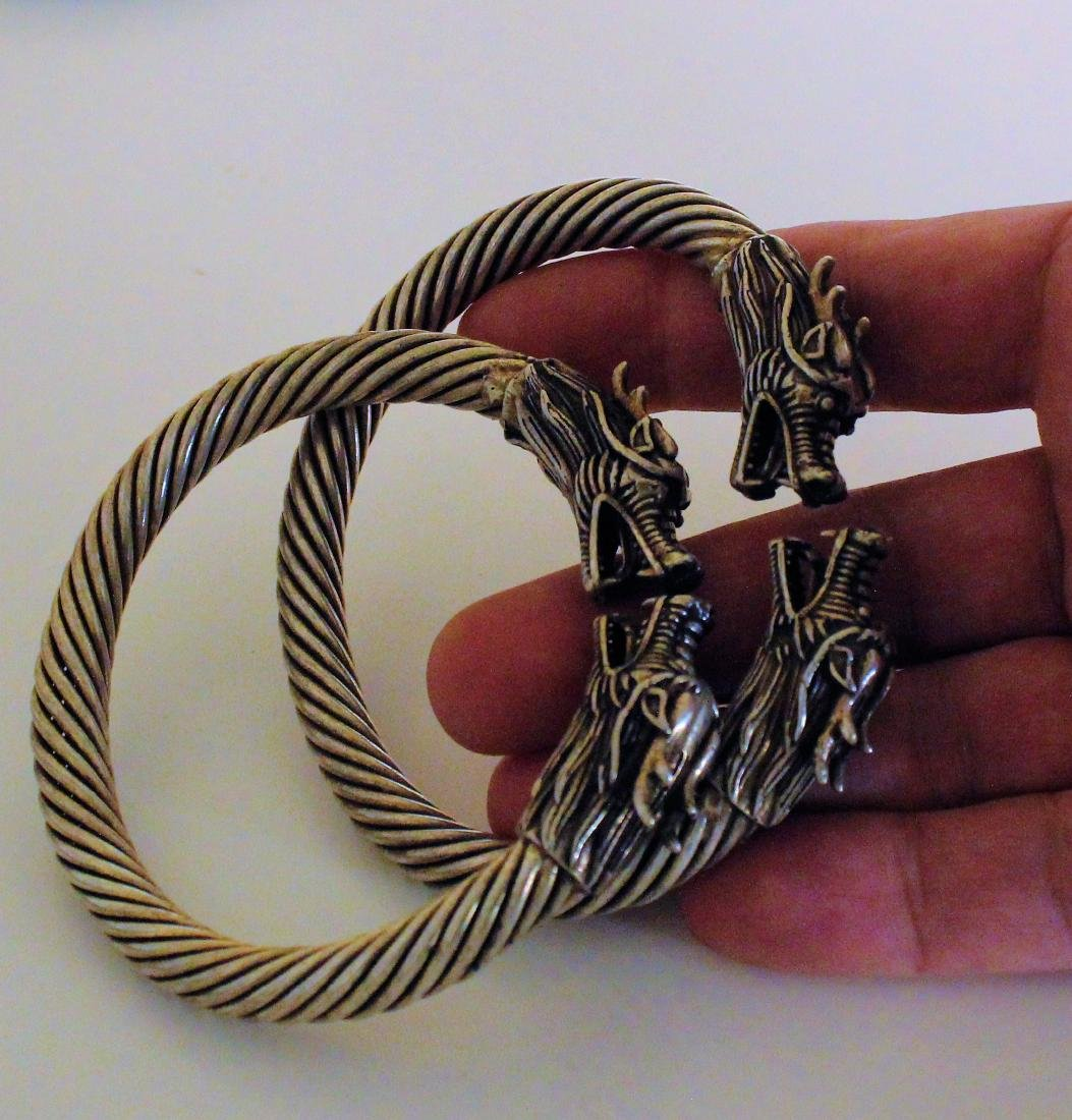 pair Chinese handmade old Tibetan silver bracelet - 2