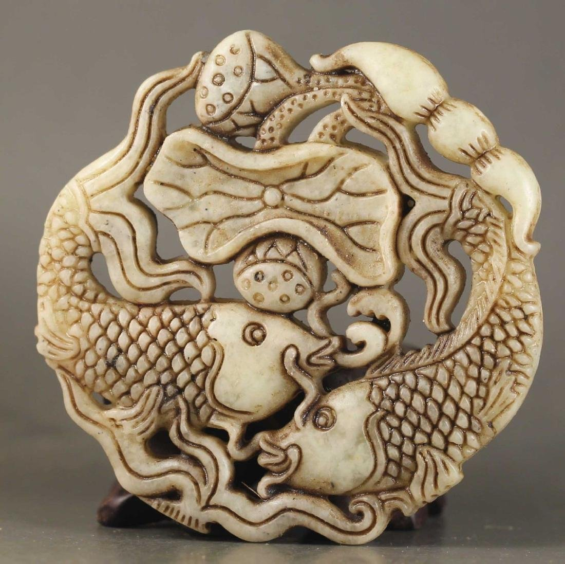 Chinese old jade hand-carved double fish design