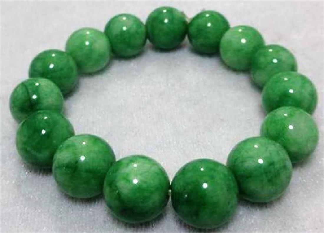 12mm NATURE BEAUTIFUL GREEN JADE JADEITE BRACELET