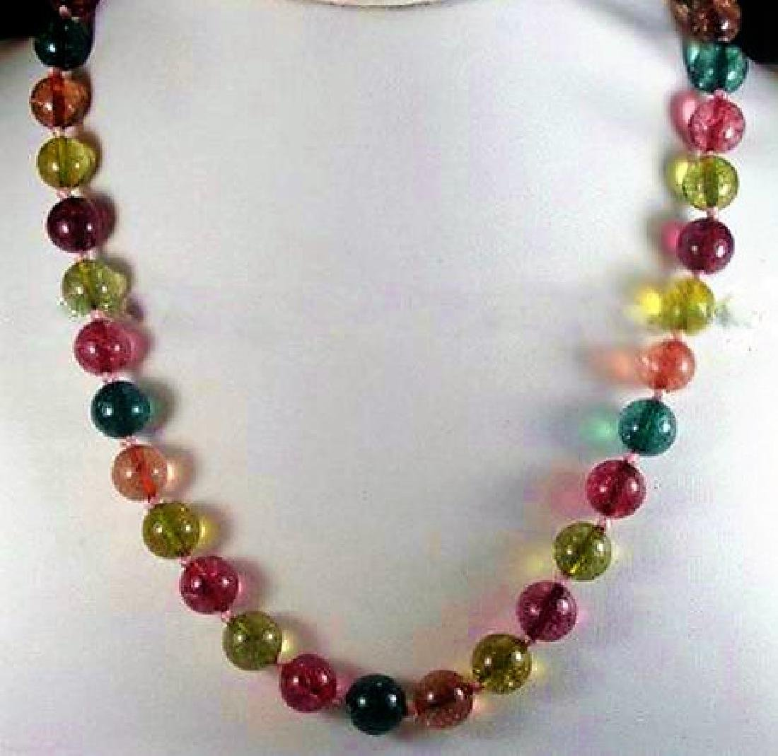 12mm Multicolor Tourmaline Gemstone Round Necklace