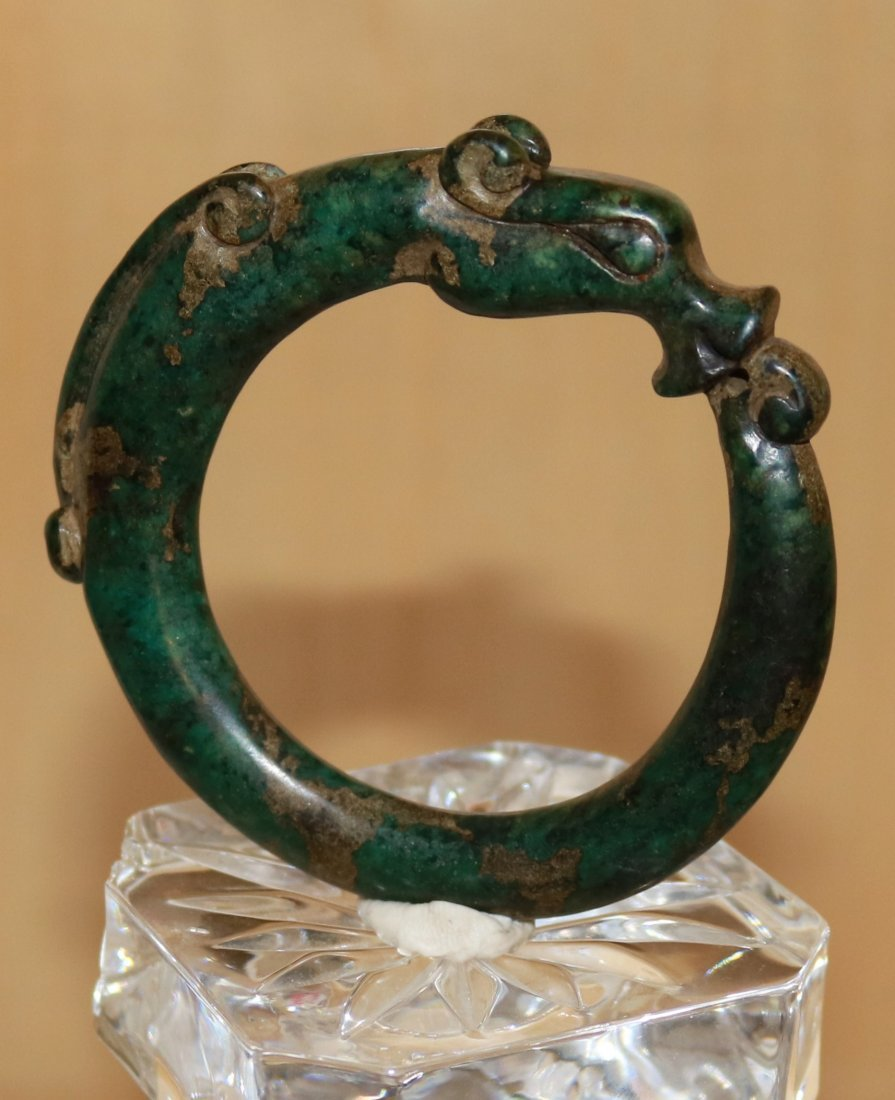 old natural jade bangle hand carved dragon design
