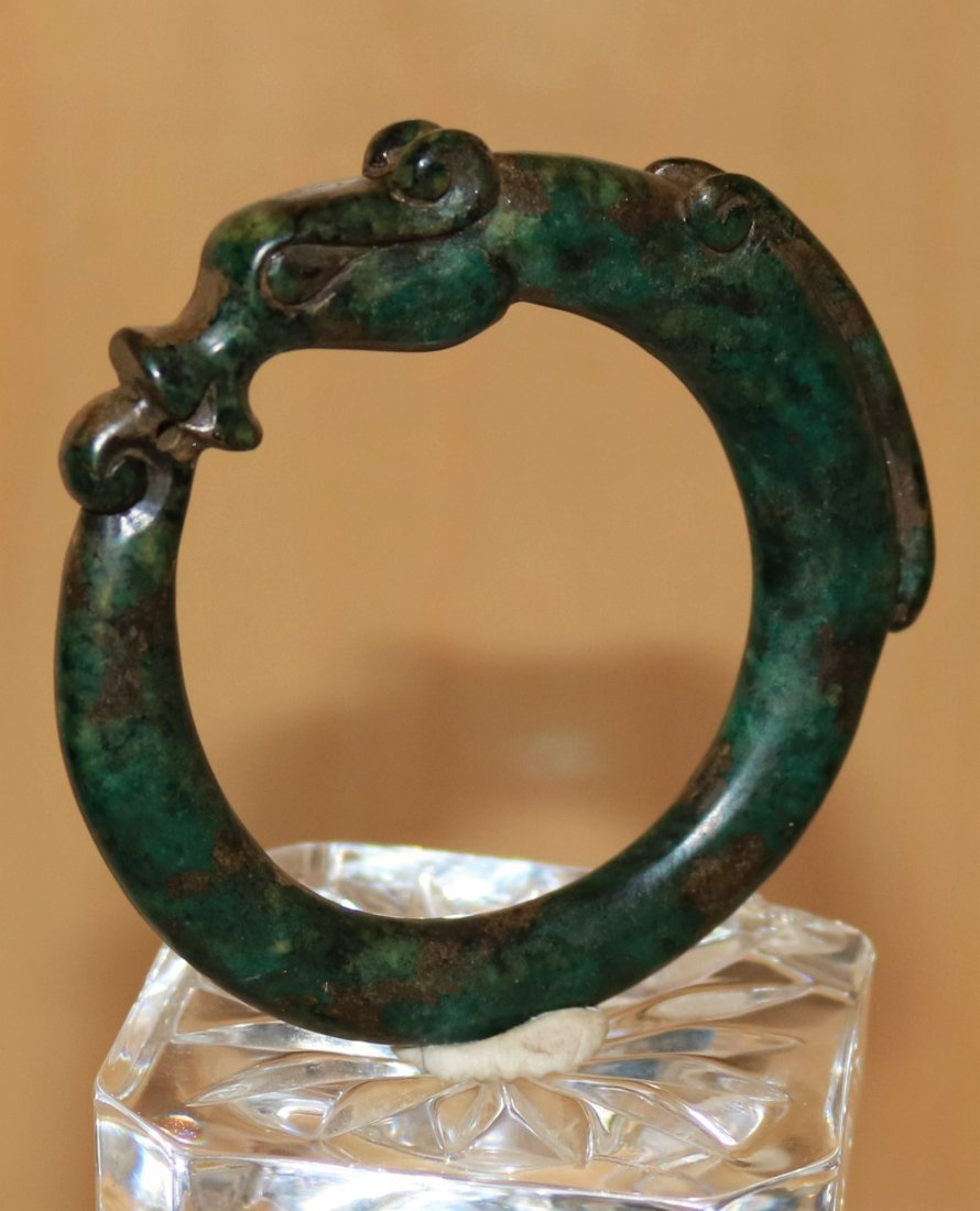 old natural jade bangle hand carved dragon design - 2