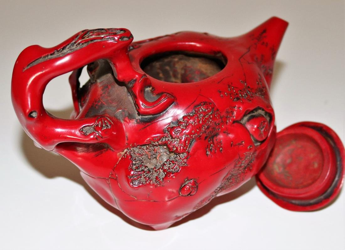 Exquisite Vintage Red Coral Teapot - 5