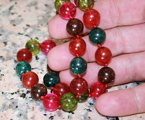 12mm Muticolor Tourmaline Gemstone Round Necklace Long