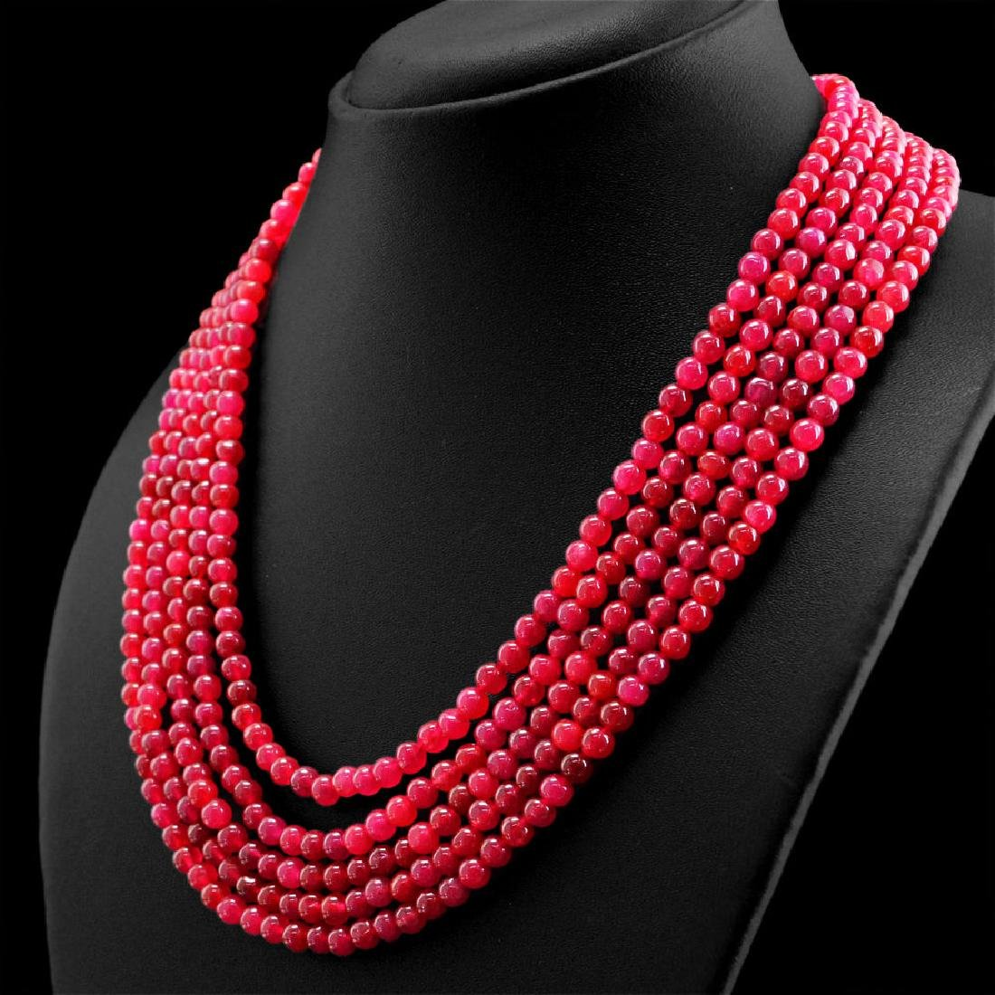 EARTH MINED 5 STRAND RICH RED RUBY ROUND BEADS HAND MAD