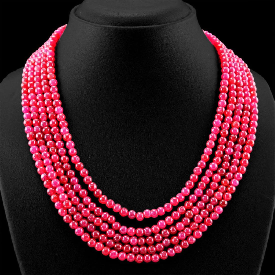 EARTH MINED 5 STRAND RICH RED RUBY ROUND BEADS HAND MAD - 2