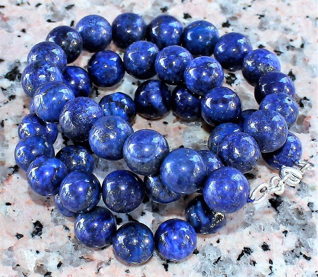 Natural Lapis lazulin Hand-carved Beads 18' - 2