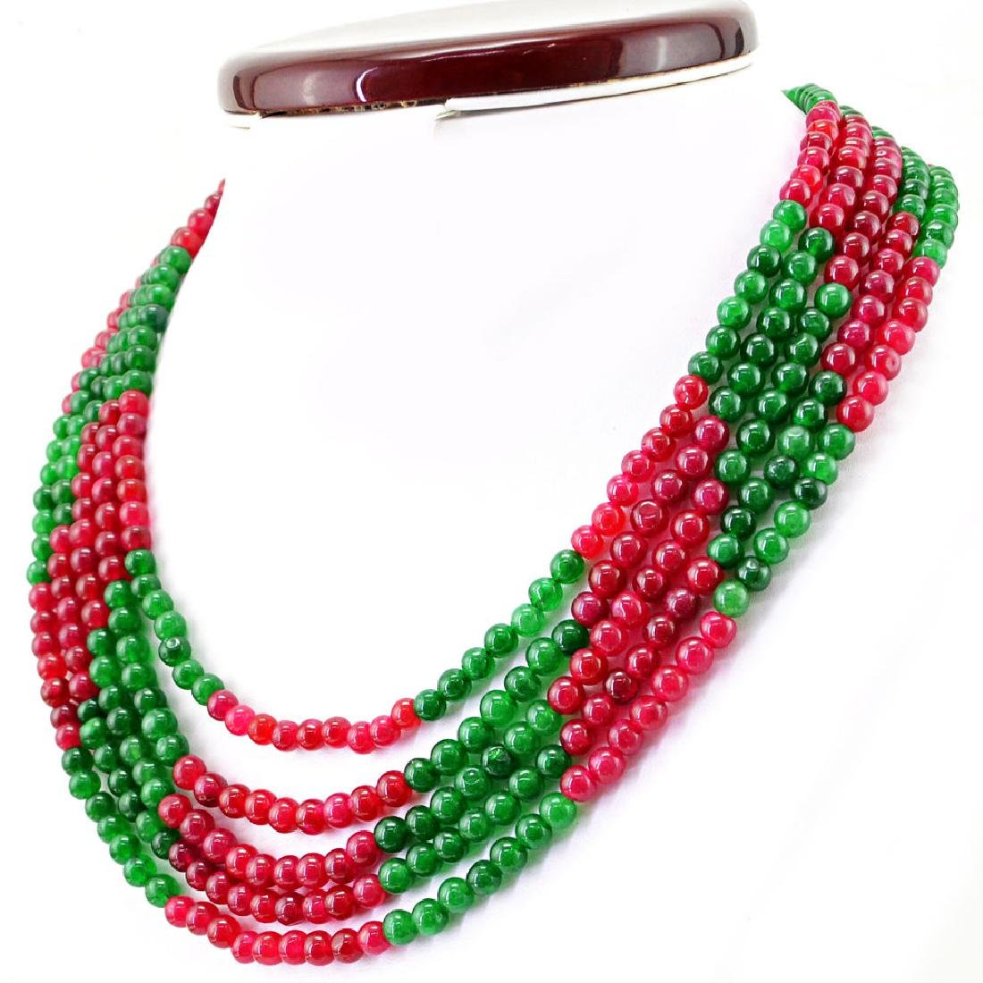 Earth Mined Green Emerald & Red Ruby 5 Strand Round