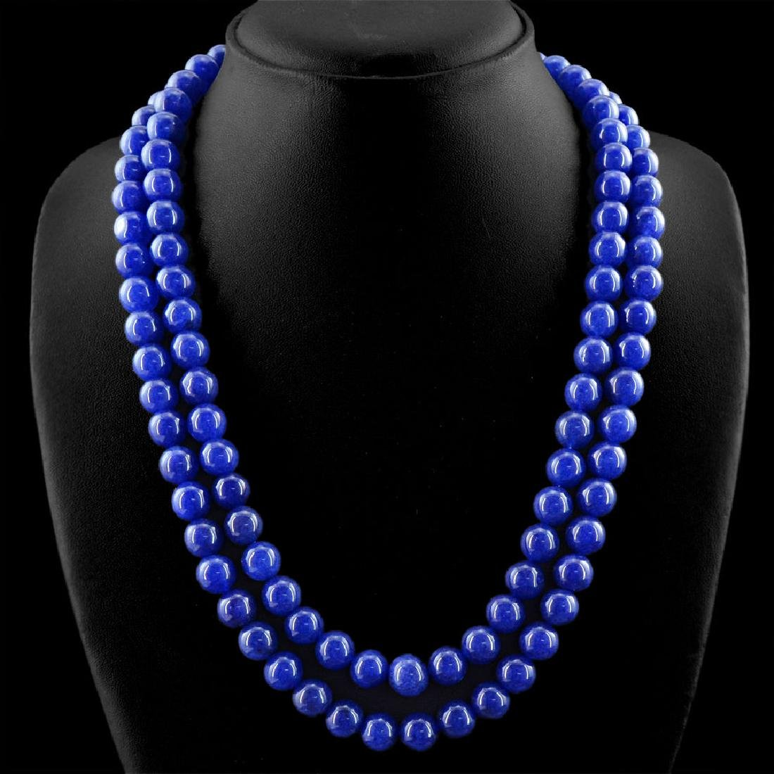 EARTH-MINED-2-LINE-RICH-BLUE-SAPPHIRE-ROUND-SHAPE-BEADS - 2