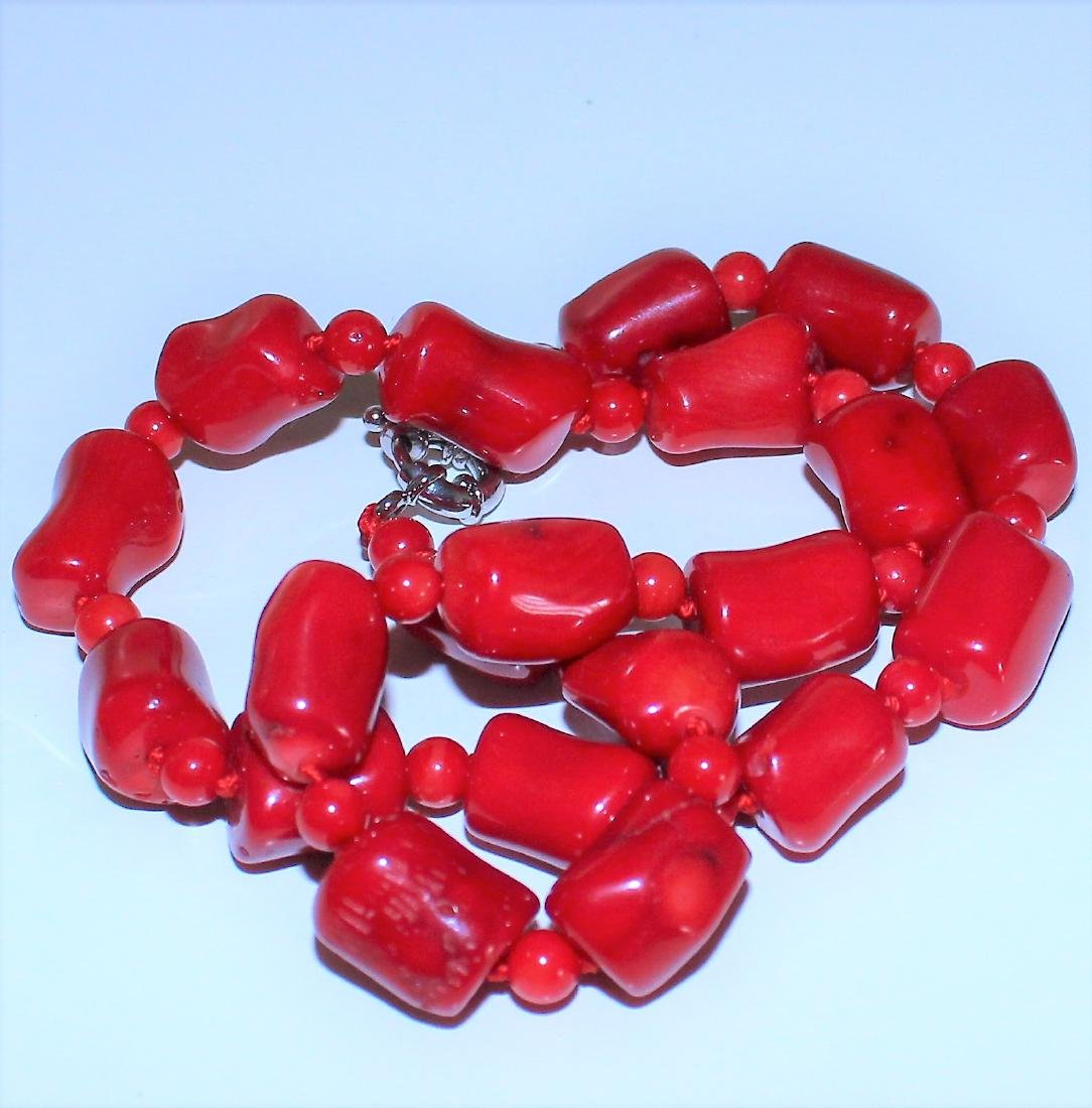 Vintage Estate Chunky Red Coral Barrel Bead Necklace 18