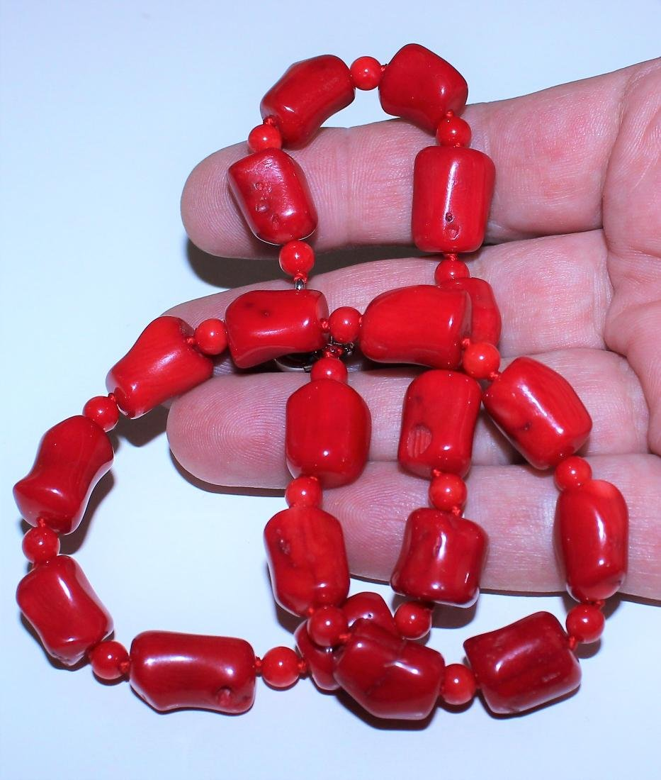 Vintage Estate Chunky Red Coral Barrel Bead Necklace 18 - 2