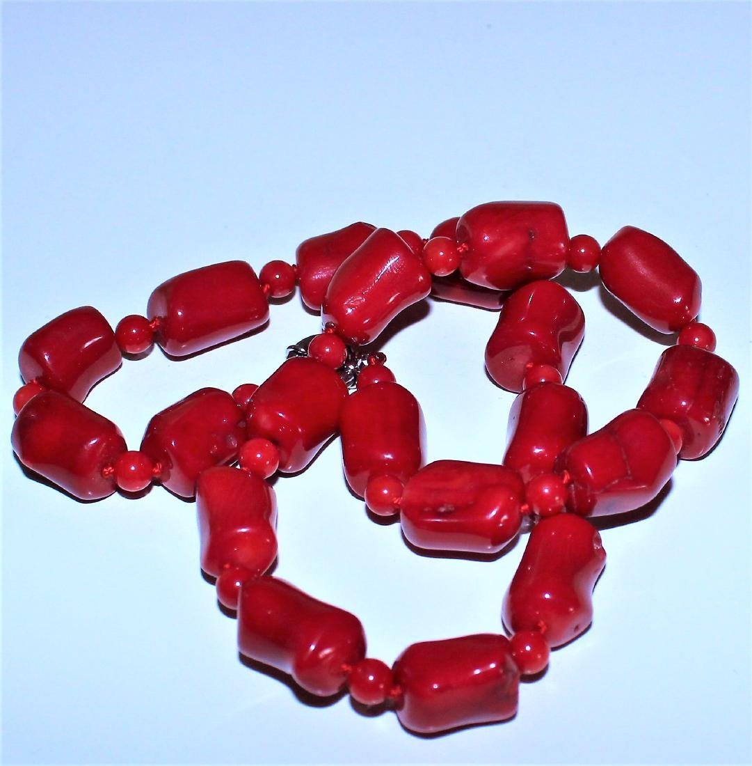 Vintage Estate Chunky Red Coral Barrel Bead Necklace 18 - 3